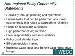 non regional entity opportunity statements