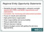 regional entity opportunity statements