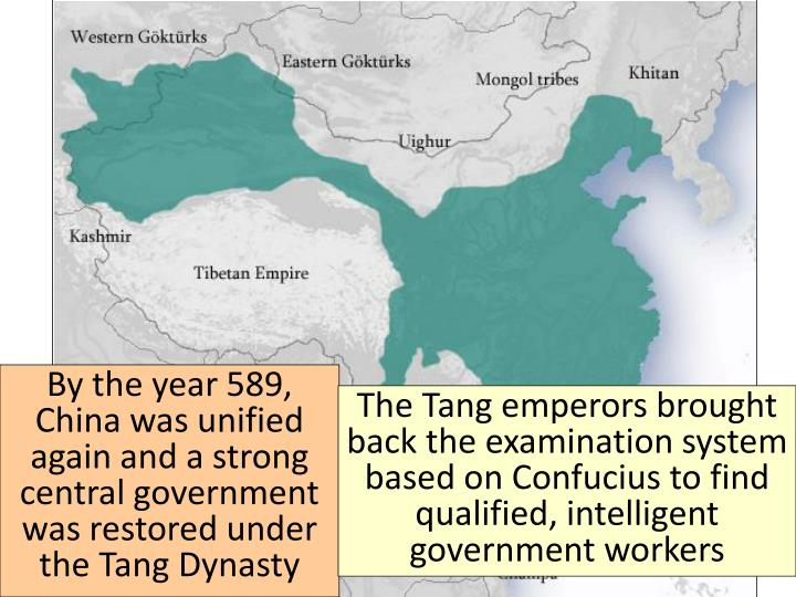By the year 589, China was unified again and a strong central government was