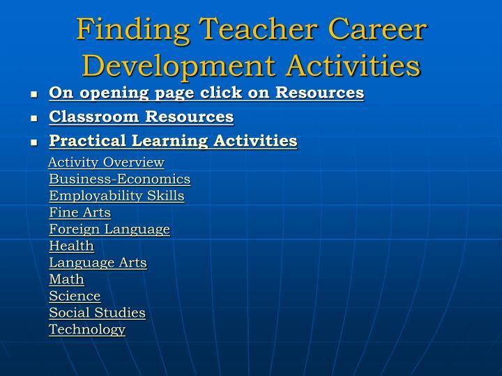 Finding Teacher Career Development Activities