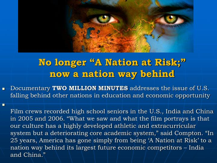 """No longer """"A Nation at Risk;"""" now a nation way behind"""