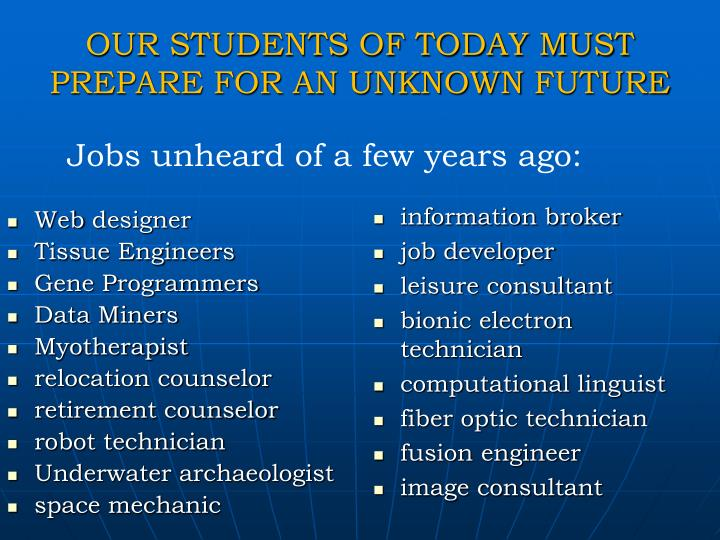 OUR STUDENTS OF TODAY MUST PREPARE FOR AN UNKNOWN