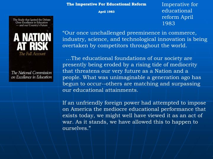 A Nation At Risk: