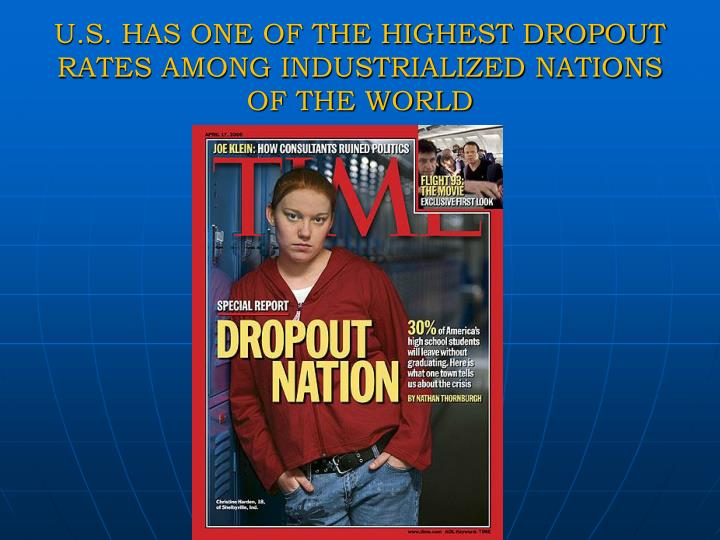 U.S. HAS ONE OF THE HIGHEST DROPOUT RATES AMONG INDUSTRIALIZED NATIONS OF THE WORLD