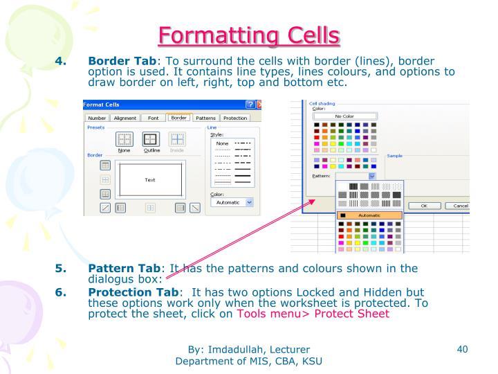 Formatting Cells