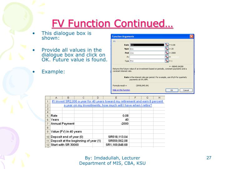 FV Function Continued…
