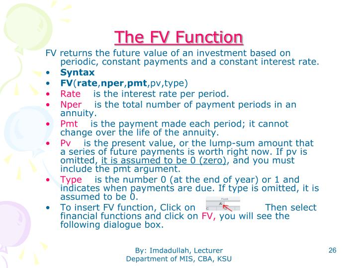 The FV Function