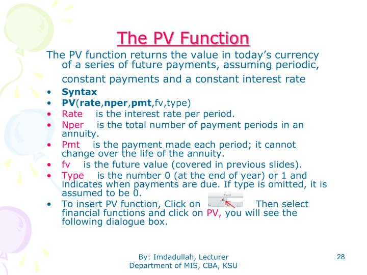 The PV Function