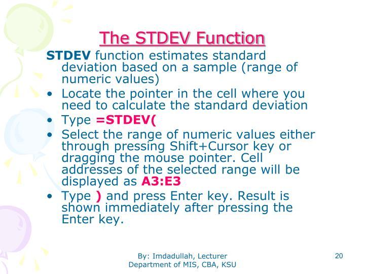 The STDEV Function