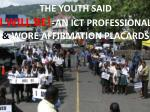 the youth said i will be an ict professional wore affirmation placards