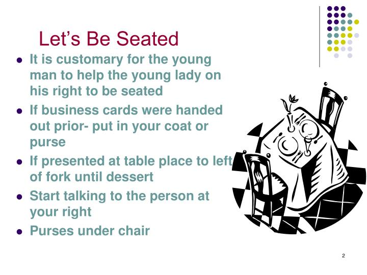 Let s be seated