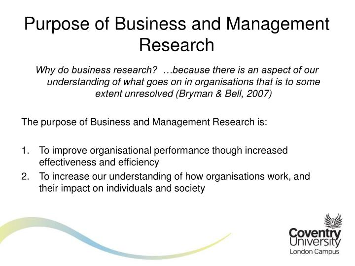 Purpose of Business and Management Research