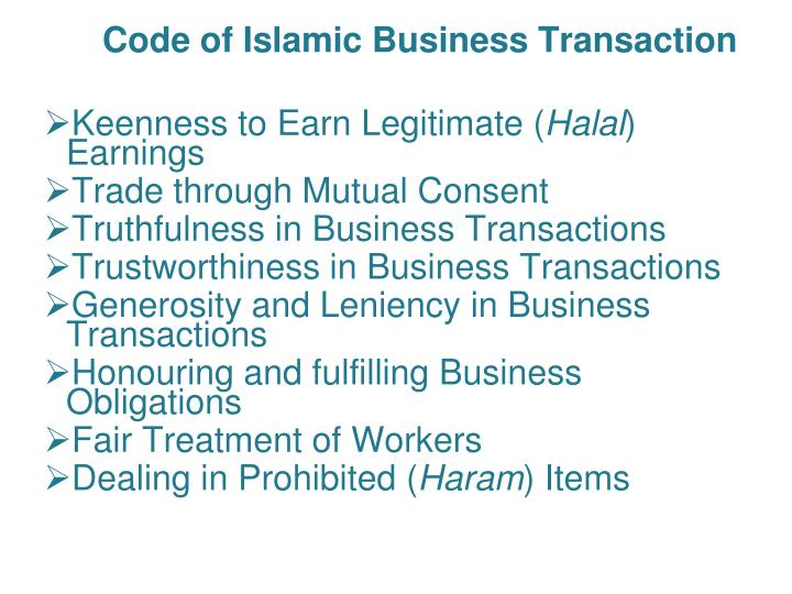 Code of Islamic Business Transaction