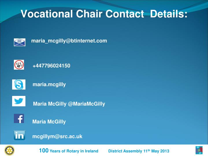 Vocational Chair Contact  Details: