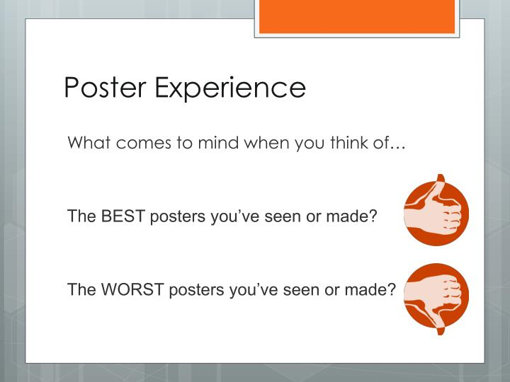 poster experience n.
