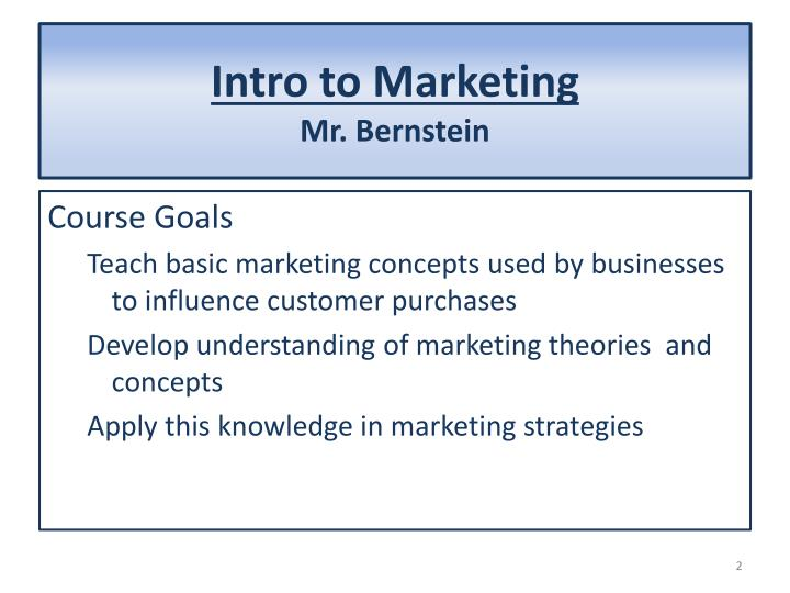 an introduction to the concept of marketing The purpose of this video lecture is to introduce principles covered in a marketing course topics include the concept of customer perceived value, the.
