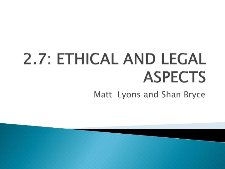 legal and ethical aspects of care Study aut507 legal and ethical issues: autism spectrum disorders from university of phoenix view aut507 course topics and additional information.