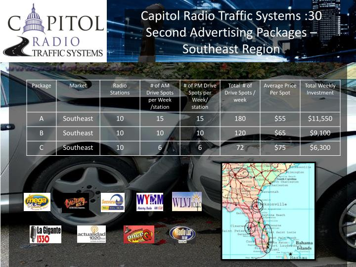 Capitol Radio Traffic Systems :30 Second Advertising Packages – Southeast Region