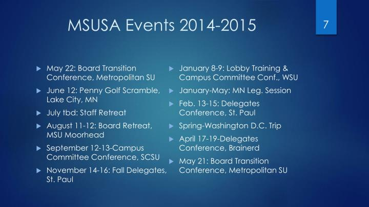MSUSA Events 2014-2015