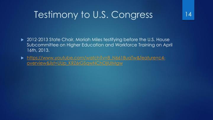 Testimony to U.S. Congress
