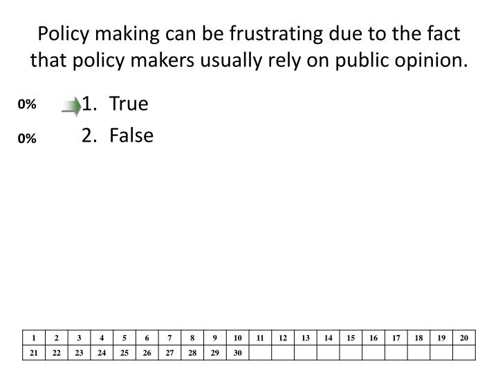 policy making can be frustrating due to the fact that policy makers usually rely on public opinion n.