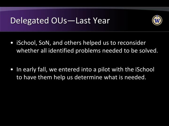 Delegated OUs—Last Year