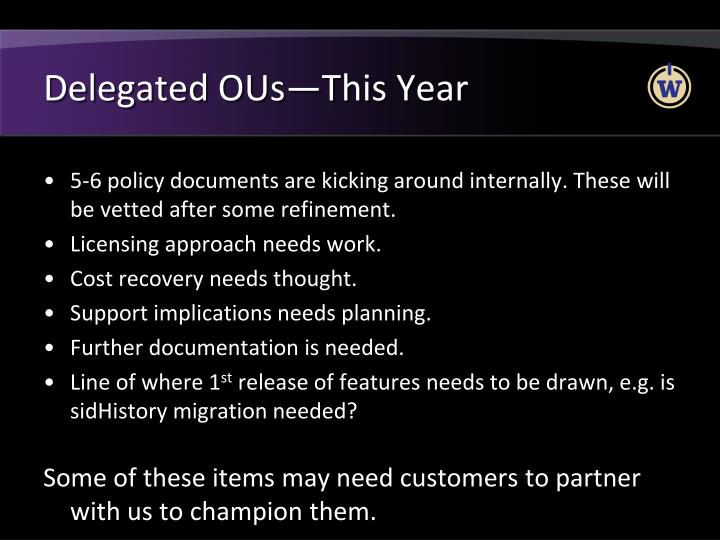 Delegated OUs—This Year