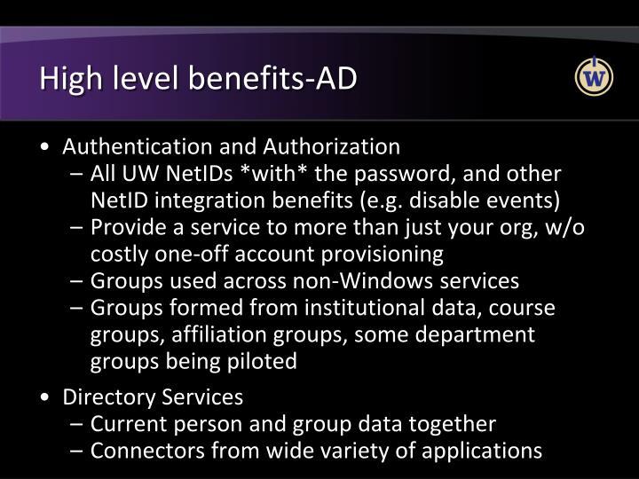 High level benefits-AD