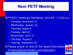 next petf meeting