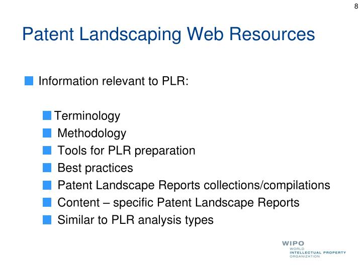 Patent Landscaping Web Resources