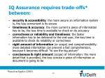 iq assurance requires trade offs between