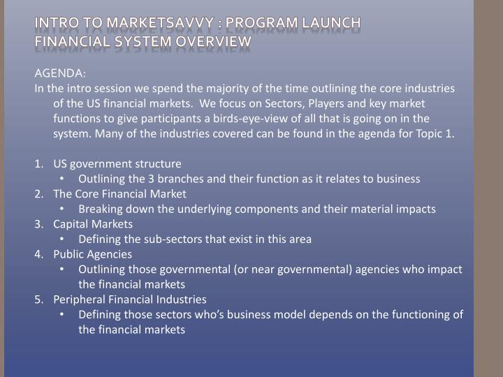 Intro to marketsavvy program launch financial system overview