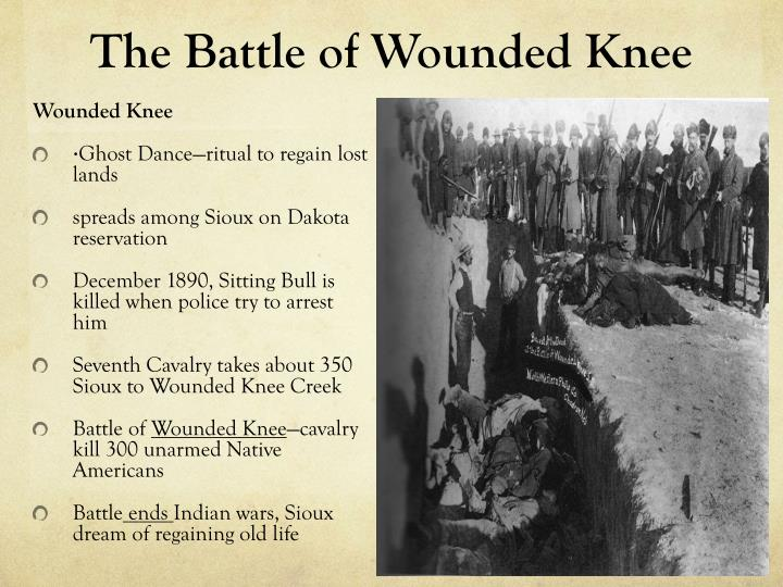 battle of wounded knee essay Battle of the wounded knee essay newspaper report: battle of the wounded knee yesterday, december 29, the continuous american tension with indians finally shatters into a massacre between the sioux indians and the us army's 7th regiment.