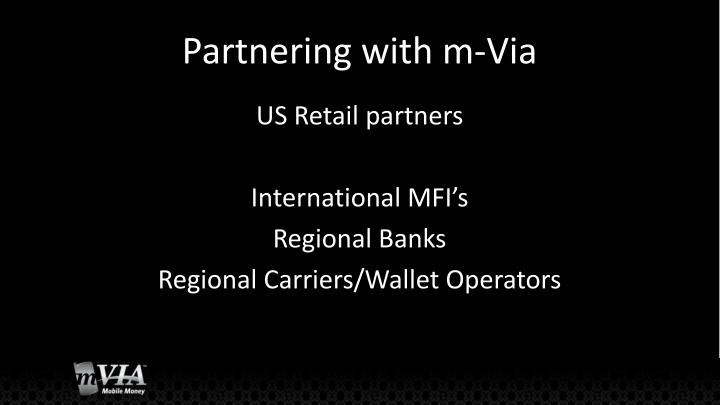 Partnering with m-Via