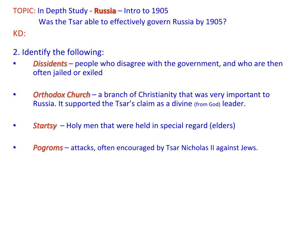 PPT - TOPIC: In Depth Study - Russia – Intro to 1905 1  Tsar