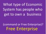 what type of economic system has people who get to own a business command or free enterprise