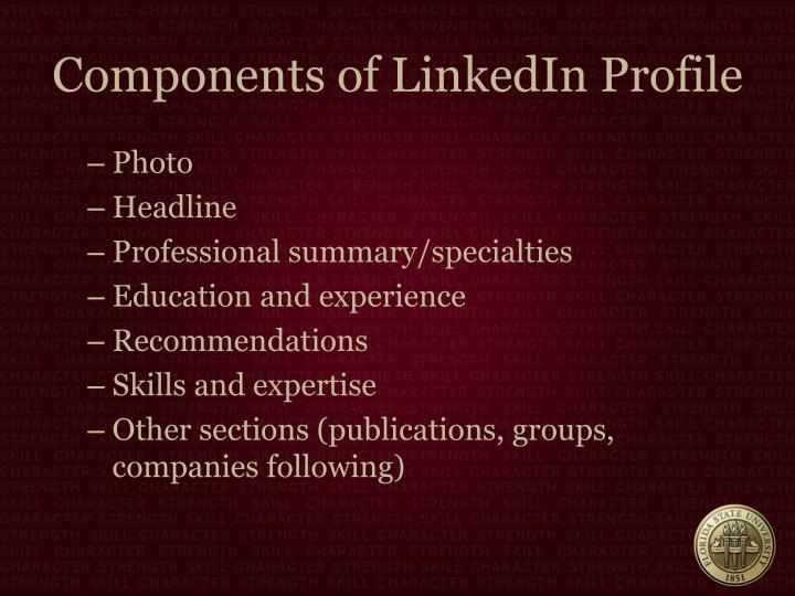 Components of LinkedIn Profile