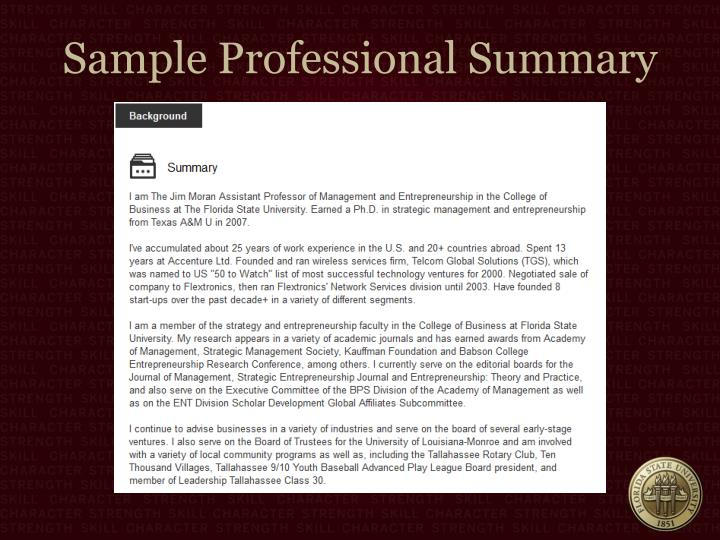 Sample Professional Summary