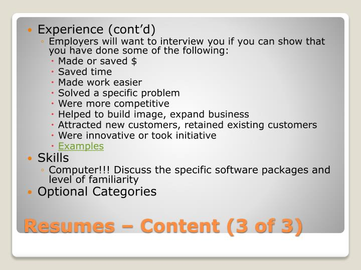 Experience (cont'd)