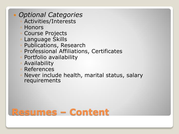 Optional Categories