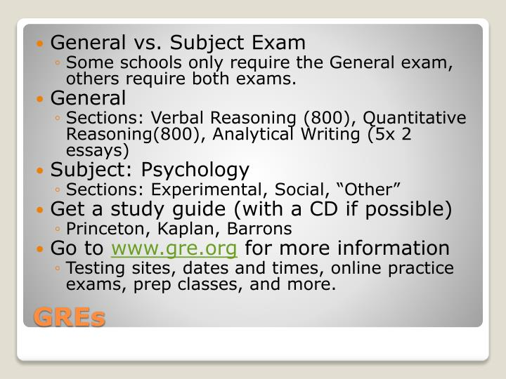 General vs. Subject Exam