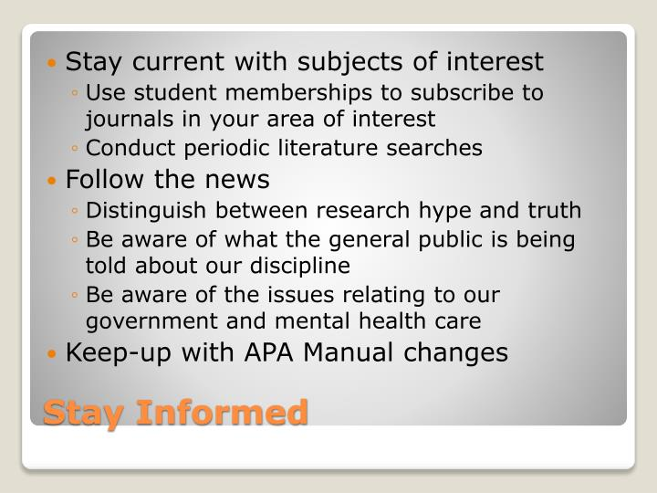 Stay current with subjects of interest
