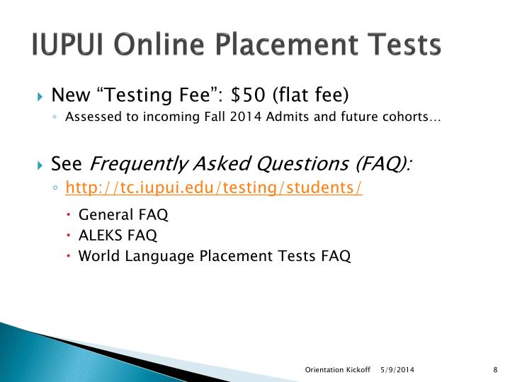 IUPUI Online Placement Tests