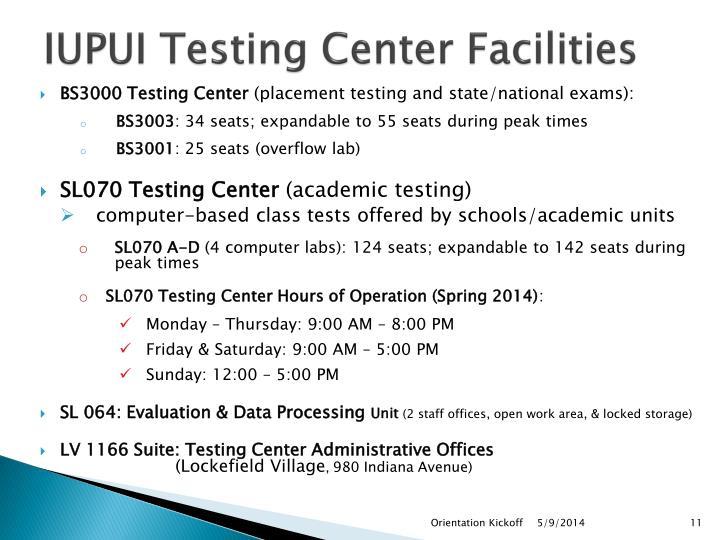 IUPUI Testing Center Facilities