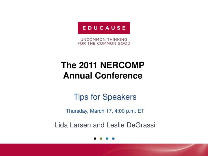 the 2011 nercomp annual conference n.