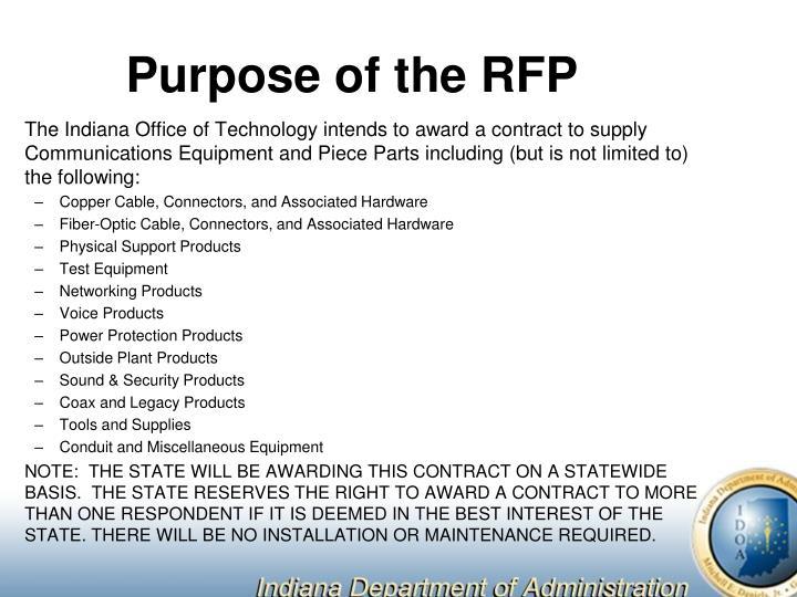Purpose of the RFP