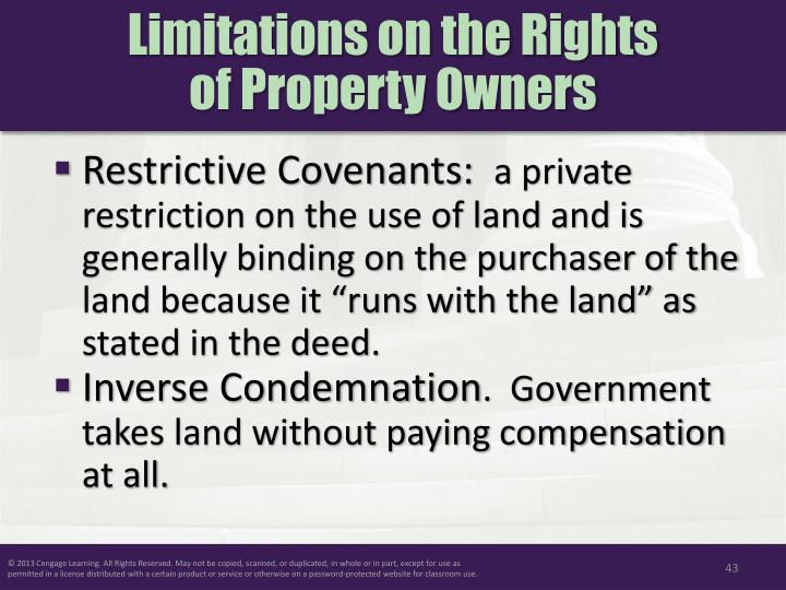 Limitations on the Rights
