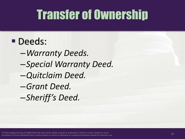 Transfer of Ownership