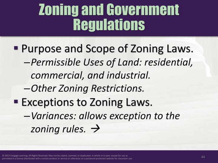 Zoning and Government Regulations