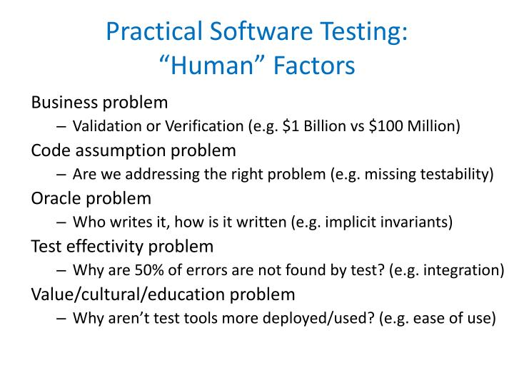 Practical software testing human factors